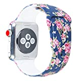 Sunmitech for Apple Watch Band 38mm 42mm, Silicone Printed Sport Bands Replacement iwatch Strap Bracelet Wristband for Apple Watch Series 3 2 1,S/M M/L Size