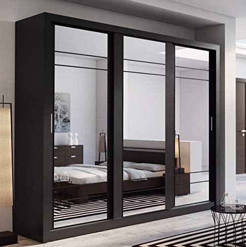 Arthauss Marca nilight Dormitorio Espejo Puerta corredera Armario Arti 2 en Negro Mate 250 cm se Vende: Amazon.es: Hogar