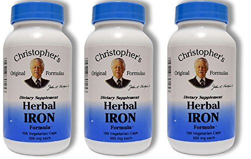 Christopher's Herbal Iron,180 Caps 3 Pack by Christophers Original Formulas