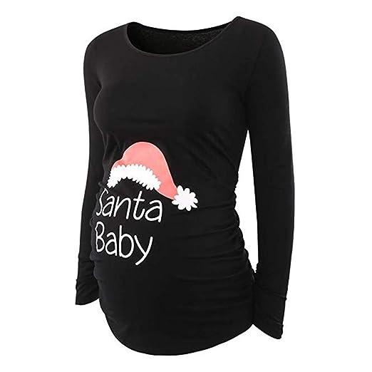 5c5c75da Amazon.com: Ankola Christmas Maternity Tops Women's Crew Neck Long Sleeve  Side Ruching Letter Print Santa Baby Maternity T-Shirt Top: Clothing
