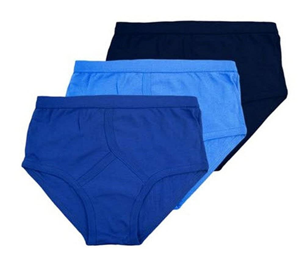 12 Pairs Mens 100% Cotton Blue Y Fronts Briefs - 7 Sizes