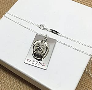 Fireman Firefighter Wife Jewelry Helmet Pendant Necklace is Hand-Stamped with Badge Number or Name