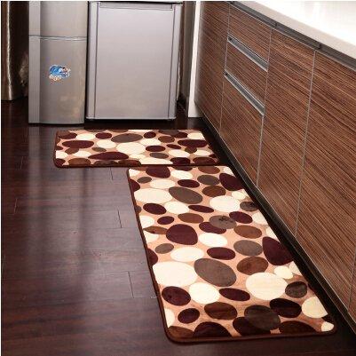 USTIDE - Ustide 2-piece Coffee Stone Flower Kitchen Rug Set Soft Rug Coral  Fleece Bathroom Rug Sets Floor Runner