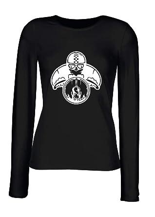 T-Shirt para Las Mujeres Manga Larga Negra TB0501 VV Cafe Racer: Amazon.es: Ropa y accesorios
