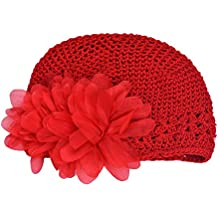 TRENDINAO Toddlers Baby Headband Hat Flower Knitting Woolen Yarn Red Cap Hair band