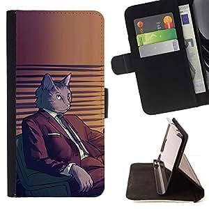 Momo Phone Case / Flip Funda de Cuero Case Cover - Juego del gato Arte de dibujos animados gris felina - Sony Xperia Z2 D6502