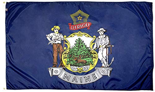 State Coat Of Arms - FlagSource Maine Nylon State Flag, Made in The USA, 3x5'