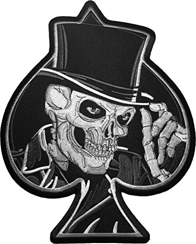 (LARGE PATCH)Visarn Skull Top Hat Poker Lasvegus Ace of Spades Ride Motorcycle Embroidered Biker Heavy For Jacket Vest Costume Sewing Iron On (Top Hat Fabric)