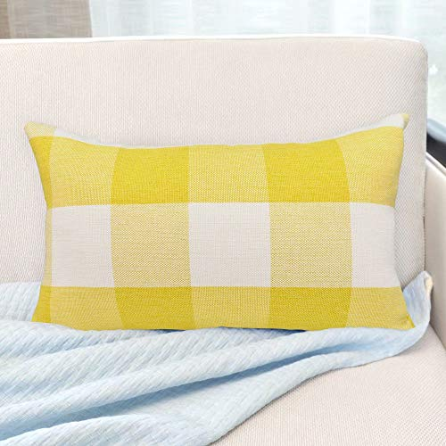 USTYLES Pillow Covers 12 X 20 Decorative Throw Pillows Covers Cotton Line Square Cushion Cases for Sofa Chair Car Bench Bed Office Bar Indoor Outdoor Home Decorations Party Déc (Yellow + White)