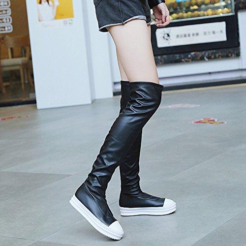 Boots Black Autumn Knee Flat Brezeh Winter Shoes Boot The Over Knee Slim Women Boots Women's F6wtqxtBW5