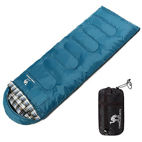 Camel Outdoor Warm Cotton Sleeping Bag Attached Pillow Comfortable 4 Season Camping, Hiking, Backpacking, Traveling