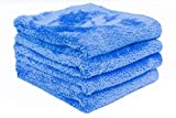 THE RAG COMPANY (4-Pack) 16 in. x 16 in. EAGLE EDGELESS 500 Professional Korean 70/30 Super Plush 500gsm Microfiber Detailing Towels (16x16, Blue)