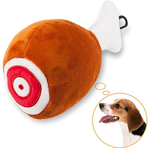 Dog Squeaky Plush Toy oneisall Pet Training Biting Chicken Leg Squeak Chew - Squeaky Plush