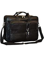 Mens Double Gusset Genuine Leather 16 Inch Laptop Briefcase Black