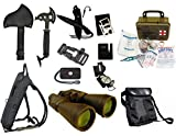 Survival Camping Hiking 20X70 Binoculars Green,Emergency First Aid Kit, Sharpener, Axe, Fire Starter Blade, Whistle Flint Striker Belt Buckle, Hydration Backpack, Multi Tool, Compass, Signal Mirror