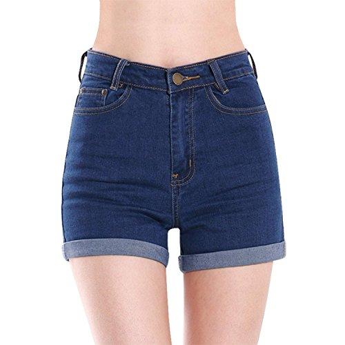 Donne Jeans vita alta Hotpants elastici pantaloncini Denim Blu Scuro
