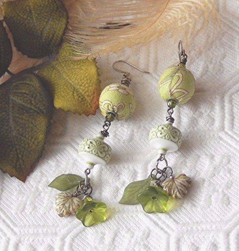 Earrings Lucite Pierced (One of a Kind Sterling Fabric Vintage Lucite Crystal Ceramic Earrings)
