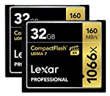 Lexar Professional 1066x 32GB CompactFlash card LCF32GCRBNA10662 - 2 Pack
