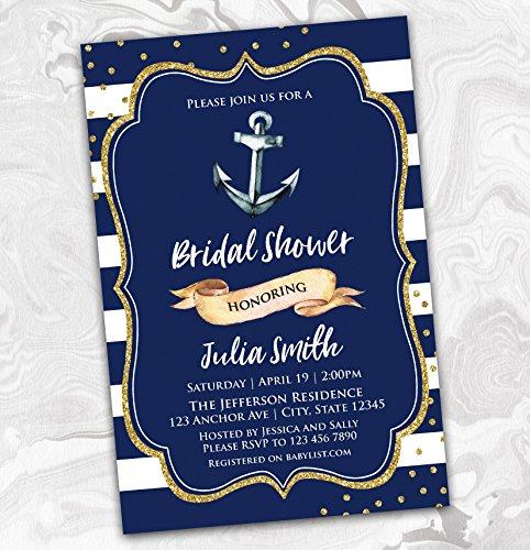 NAUTICAL Bridal Shower Invitation - Wedding Shower Invitation - Couples - Engagement - Anchor - 4x6 -