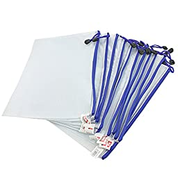 Uxcell Plastic Zipper Pen File Document Folders Pockets Bags, 12-Piece, White