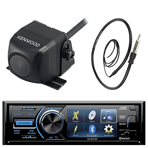 "JVC KD-AV41BT 3"" Inch Display Car CD DVD USB Bluetooth Stereo Receiver Bundle Combo With Kenwood Rearview Wide Angle View Backup Camera, Enrock 22"" AM/FM Radio Antenna"