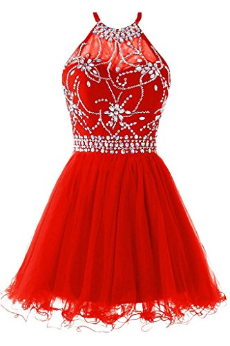 Tulle Prom Halter Crystal Short Women's Homecoming Gown Red Chupeng Dress Beading IwZFqR0