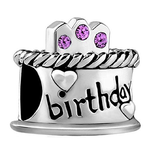 Happy Birthday Cake Candles Jan-Dec Birthstone Crystal 925 Sterling Silver Bead fit European Charms (Alexandrite June Birthstone)