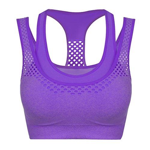 cooshional Sujetador deportivo de las mujeres Corriendo ejercicio bien respirable acolchado Bra Púrpura