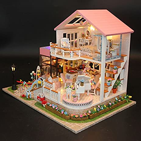 Marvelous WYD Large Pink Luxury Doll House DIY Model Furniture Kits LED Lights Wooden Doll  House Miniature