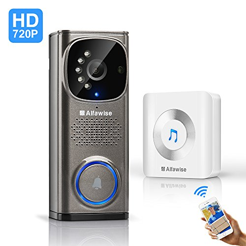 Wifi Wireless Doorbell , Alfawise Wireless Doorbell 720p HD  2.4Ghz wifi Security Camera with Motion Detection, Night Vision Function