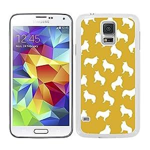 Funda carcasa para Samsung Galaxy S5 estampado perro perros collie fondo naranja borde blanco