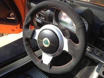 amazon com redlinegoods steering wheel cover compatible with lotus elise 2005 15 black suede alcantara with red thread automotive redlinegoods steering wheel cover