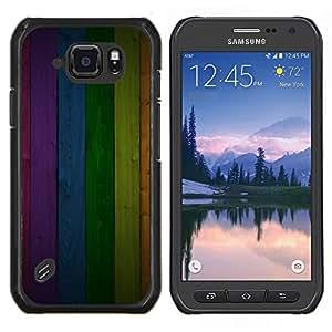 Eason Shop / Premium SLIM PC / Aliminium Casa Carcasa Funda Case Bandera Cover - Modelo de la textura del panel del arco iris Líneas - For Samsung Galaxy S6 Active G890A