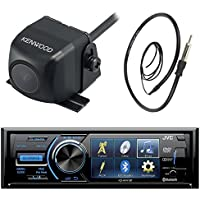 JVC KD-AV41BT 3 Inch Display Car CD DVD USB Bluetooth Stereo Receiver Bundle Combo With Kenwood Rearview Wide Angle View Backup Camera, Enrock 22 AM/FM Radio Antenna