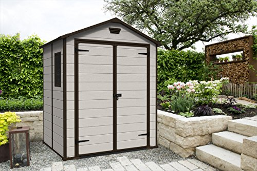 Keter Manor Outdoor Plastic Garden Storage Shed Beige 6