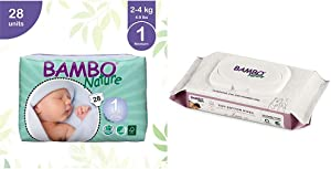 Bambo Nature Baby Diapers Classic, Size 1 (4-9 lbs), 28 Count with Bambo Nature Tidy Bottoms Baby Wipes 50 Sheets