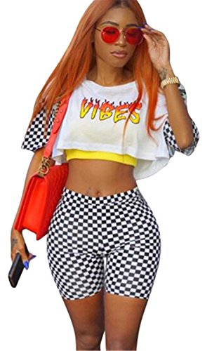 Womens Sexy 2 PCS Printed Tank Tops Shirts Bodycon Lattice Shorts Party Clubwear Tracksuit Set, White, ()