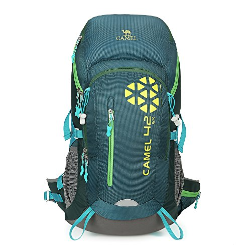 Camel 42L Internal Frame Backpack Backpacks for Backpacking Camping Hiking Travel Outdoor Large Lightweight Daypack with Rain Cover Green