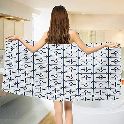 Wholesale Flower Dutch (Dutch,Bath Towel,Classical Holland Delft Pattern with Checkered Squares with Flower Motifs,Bathroom Towels,Dark Blue and White Size: W 31.5