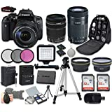 Canon EOS Rebel T6i DSLR Camera Bundle with EF-S 18-135mm f/3.5-5.6 IS STM Lens & Canon EF-S 55-250mm f/4-5.6 IS STM Lens + Professional Complete Accessory Bundle (19 Items)