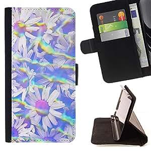 For Sony Xperia Z3 Plus / Z3+ / Sony E6553 (Not Z3) Case , Arco iris Sun del verano Flores Del Campo- la tarjeta de Crédito Slots PU Funda de cuero Monedero caso cubierta de piel