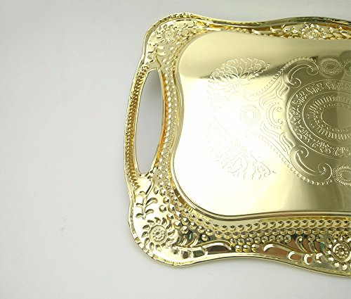 Eaglood 30X20CM/36X25CM Stainstainless Steel Golden Dish Plate/Metal Serving Tray Delicate Ss Plate/Tableware Metal Plate/Fruit Plate golden 43x29 by Eaglood (Image #3)