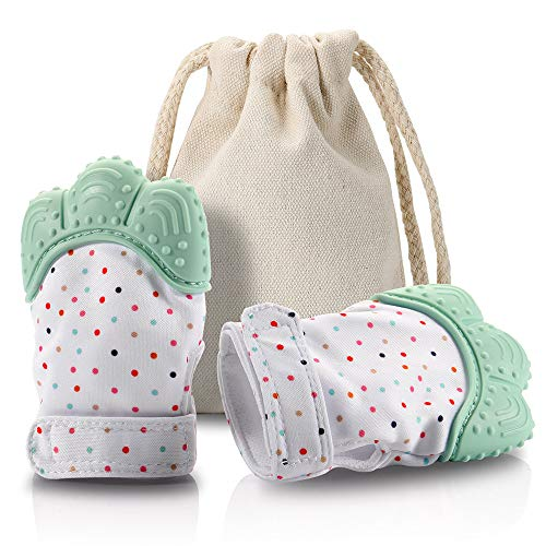 (cipher Baby Teething Mitten,Self Soonthing Teether Pain Relief Mitt and Glove,FDA Approved BPA Free Cute Teething Paw Glove,Teething Toys for Baby Gift(Green) ...)