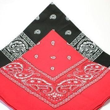 1bbf2bf132b6 Lot de 2 x Bandana 1Rouge et 1Noir style Paisley Cachemire Rouge 100%coton  56