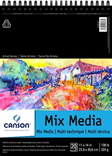 Canson Artist Series Mix Media Paper Pad for Wet or Dry Media, Dual Surface with Fine and Medium Textures, 138 Pound, 11 x 14 Inch, 20 Sheets from Canson
