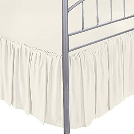 PREMIUM QUALITY Dust Ruffle Split Corner Bed Skirts Ivory Cotton with Easy Fit