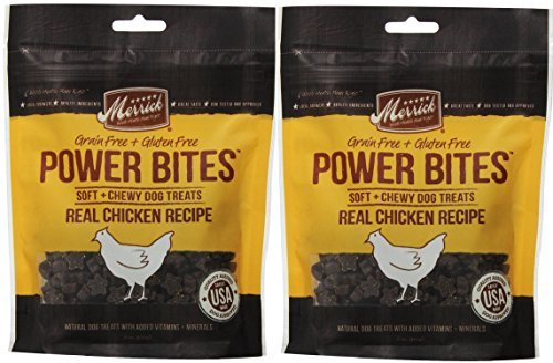 Merrick Beef Training Treats - MERRICK CHICKEN POWER BITES ★ MADE IN USA ★ 2 PACK ★ 12 Ounces Total ★ DOG TREATS TRAINING
