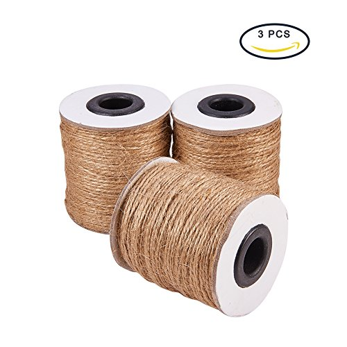 Pandahall (3 Rolls x 320 Feet) Natural Jute Twine 2-Ply Jute String Rope 1mm Hemp Rope Jute Cord for DIY and Crafts, Gift Wrapping