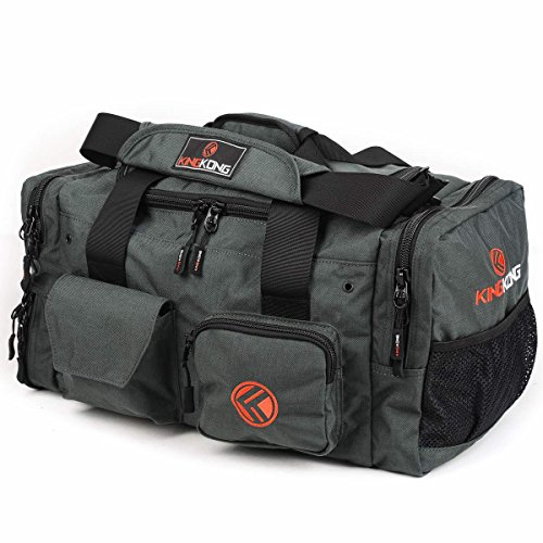 "King Kong Junior Kong Original Nylon Gym Bag - Heavy Duty and Water-Resistant Duffle Bag - Military Spec Nylon- Heavy Duty Steel Buckles - 18"" x 11"" x 11"" - Charcoal"