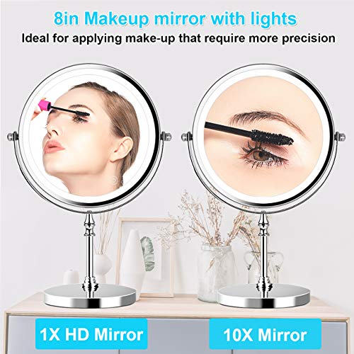 8in Lighted Makeup Mirror 10x Magnification Makeup Mirror with Lights Double Sided Round Mirror with 27pcs LED,Powered by 4xAAA Batteries Not Included